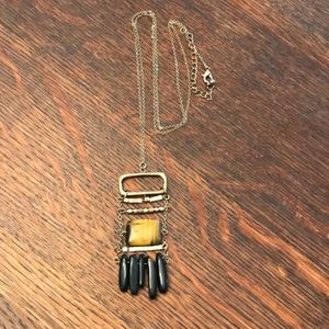 Tigers Eye and Obsidian Long Necklace